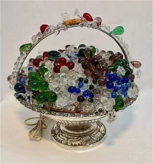 ANTIQUE CZECH ART GLASS FRUIT FLOWER BASKET LAMP