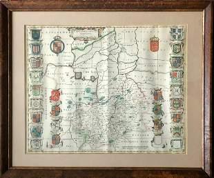 Cambridgeshire Map, Joan Blaeu  Amsterdam, 1645