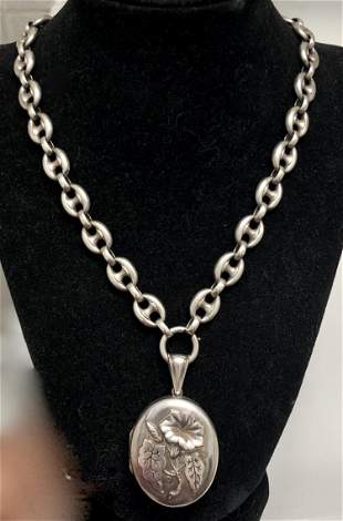 Antique Book Chain Sterling Necklace W/ Locket Pendant