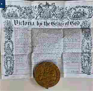 Great Seal of Queen Victoria W/ Royal Document, 1866
