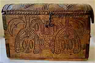 Antique European Hand-Carved Document Box, 19thc.