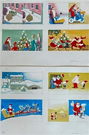 Jan Morgensen Original Storybook  Illustrations SANTA