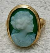 Antique Victorian Ladies 14k Gold Carved Cameo Ring