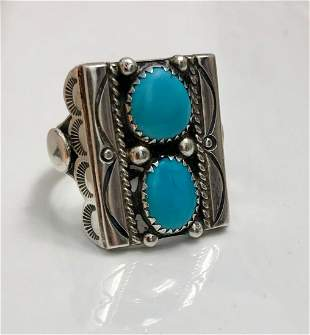 Navajo Sterling Silver Turquoise Ring, Tommy Moore