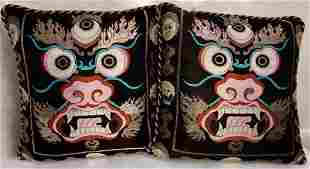 Tibetan Buddhist Dragon Carpet Pillows, Pair