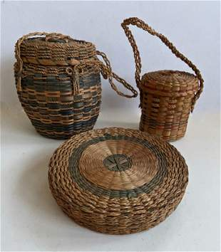 Maine MICMAC Native American Indians Sewing Baskets