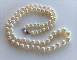 14k Gold Clasp Ladies Pearl Necklace