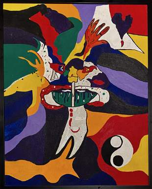 Mid-Century YIN YANG Abstract Painting