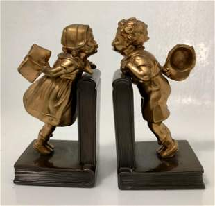 Jennings Brothers Pair of Bookends FIRST KISS c.1930