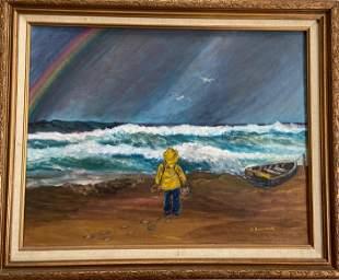 Seashore Painting YOUNG FISHERMAN Audrey Buckman
