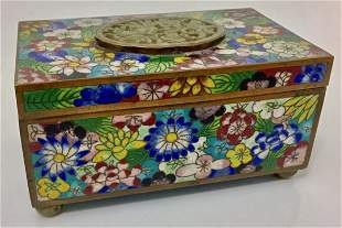 Chinese Cloisonne Enamel Lotus Box W/ Carved Jade