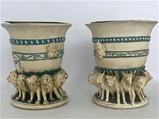 Pair of Neoclassical Style Lion & Horned Goat Planters