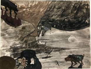 French School Landscape Painting WILD BOAR Signed
