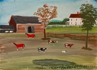 American  Folk Art Farmyard Painting, Ken Harris