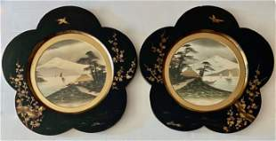 Japanese Lacquerware Frames W/ Mt. Fuji Watercolors