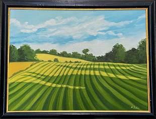 American Farmland Morning Landscape Painting, M.W. Liu