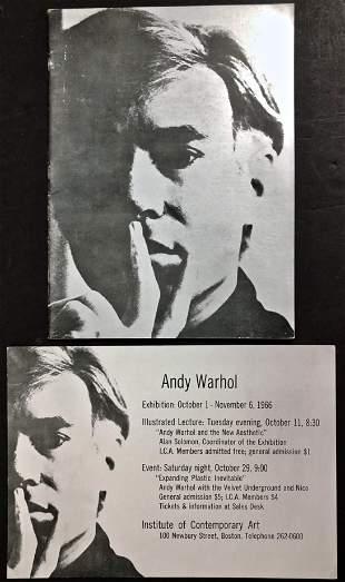 ANDY WARHOL Exhibition Cataloge w/ Original Invite,1966