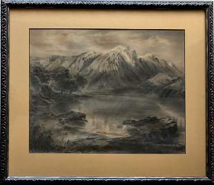 19th C.  Winter Landscape Painting, Signed