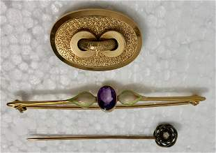 Antique 14k Gold Jewelry: Brooch, Pendant & Stick Pin