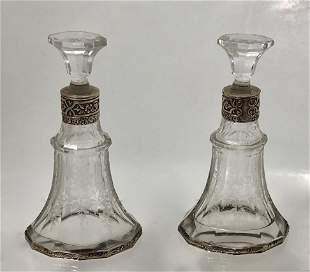 Sterling Silver Hallmarked Crystal Perfume  Bottles