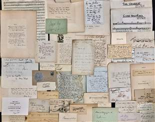 Cache Of Autographs, Letters & Music Quotes 1800s-1900s