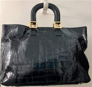 FENDI Black Crocodile Tote Bag W/ Gold Hardware