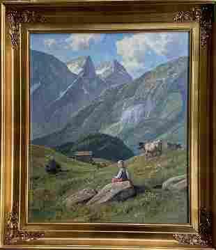 Mountain Landscape Painting Shepherdess & Cattle Signed