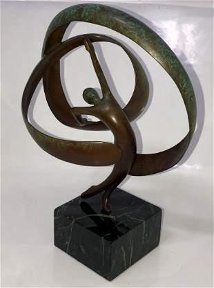 Abstract Bronze Sculpture TENNIS PLAYER, C.Carter