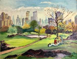 Albert Pels (1910-1998) N.Y.C. Park Painting 1930s