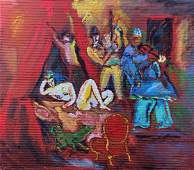 Abstract Expressionist Figural Boudoir Painting, 1960s