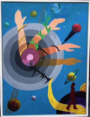 Surreal Fantasy Sci-fi Planetary Walk Painting 1970s