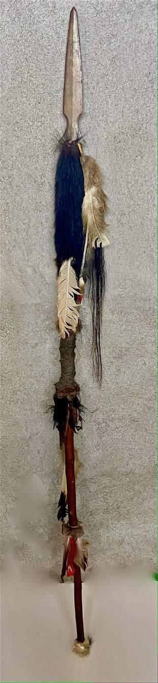 Vintage Native American Ceremonial Spear: 5 1/2 ft.