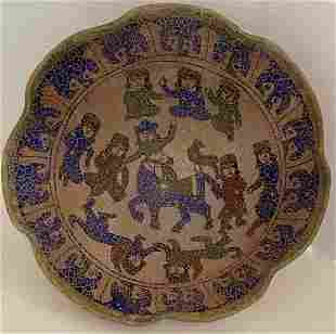 A Middle Eastern Glazed Pottery Bowl, Diameter 10 in.