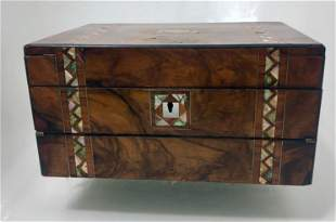Antique Burl Wood Lap Desk w/ Mother-of-Pearl Inlay