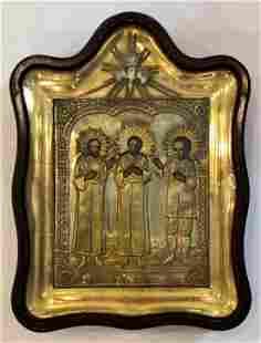 A 19th Century Russian Oklad Icon In Gilt Frame & Kiot