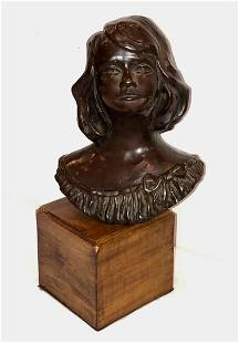 American Bronze Bust of Young Girl w/ Bow ca. 1950s