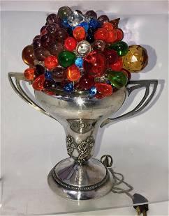 Czechoslovakian Art Glass Fruit & Floral Lamp
