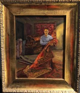 Orientalist Painting PERSIAN RUG SELLER, A. Khamara