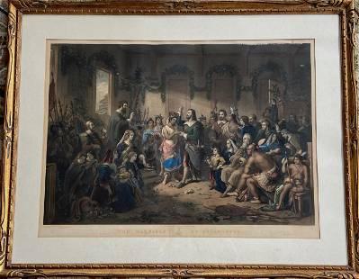 Marriage of Pocahontas After Henry Brueckner, 1855
