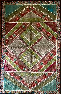 Mughal Silk & Metal Hand-Woven Threaded Tapestry, India
