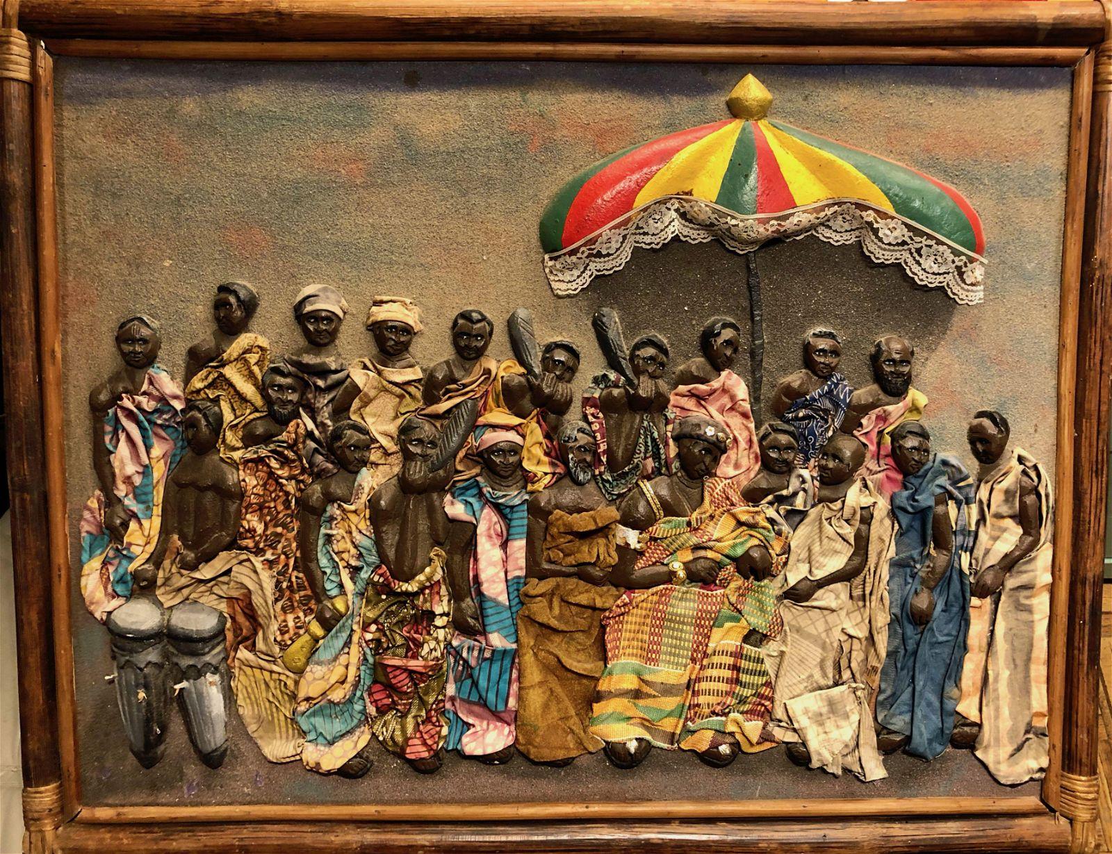 Guyana Folk Art Painted Wood Carving w/ Textile c.1960s