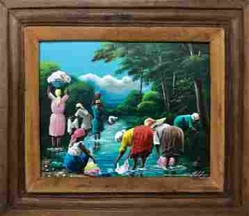 Haitian Folk Art Painting RIVER LAUNDRY R.Lafaille