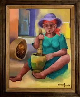 Haitian Folk Art Painting, POUNDING GRAIN Signed 1973