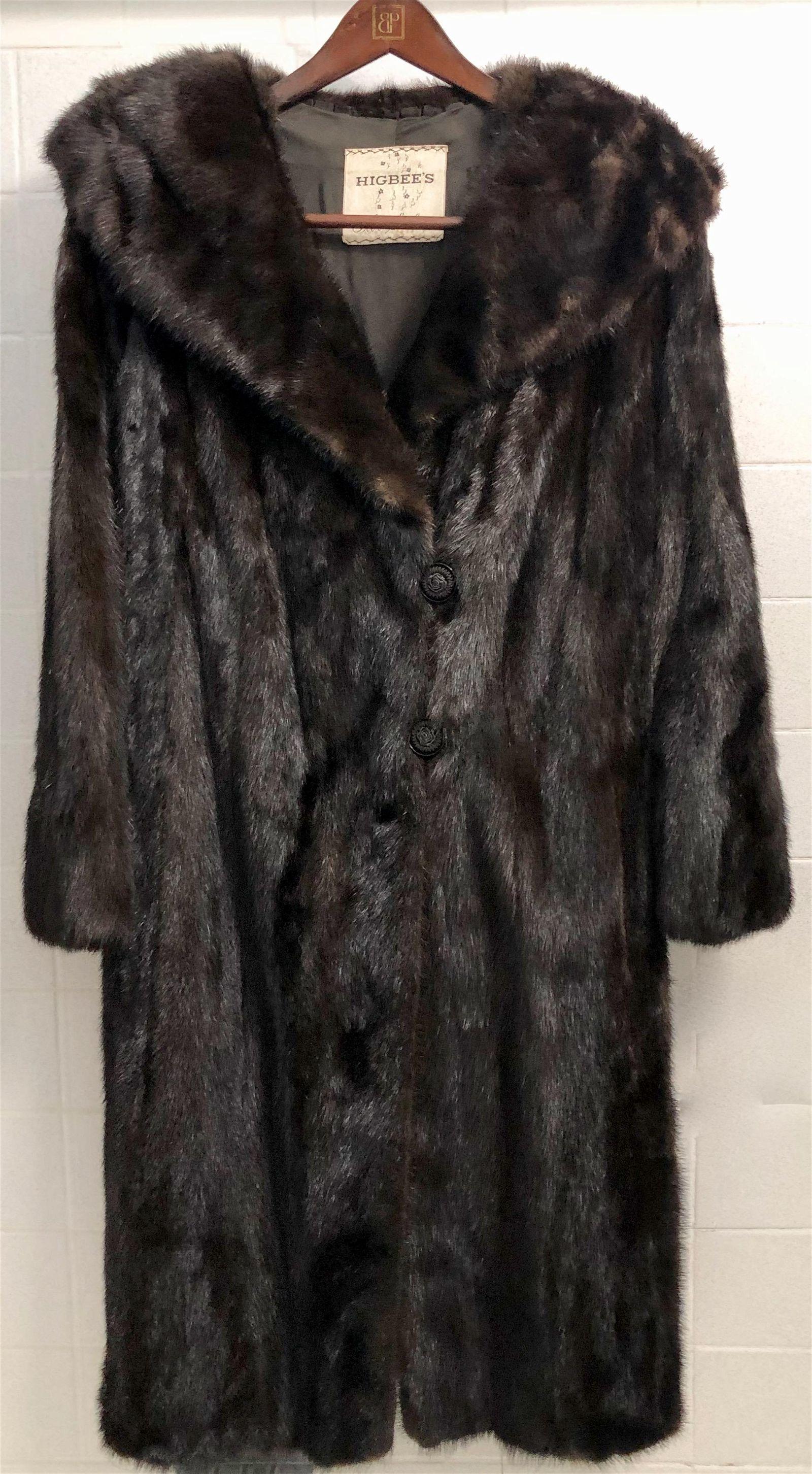 Vintage Black Mink High Shawl Collar Fur Coat
