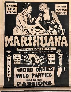 Rare MARIJUANA Cult Film Theatrical Silk Banner 1935