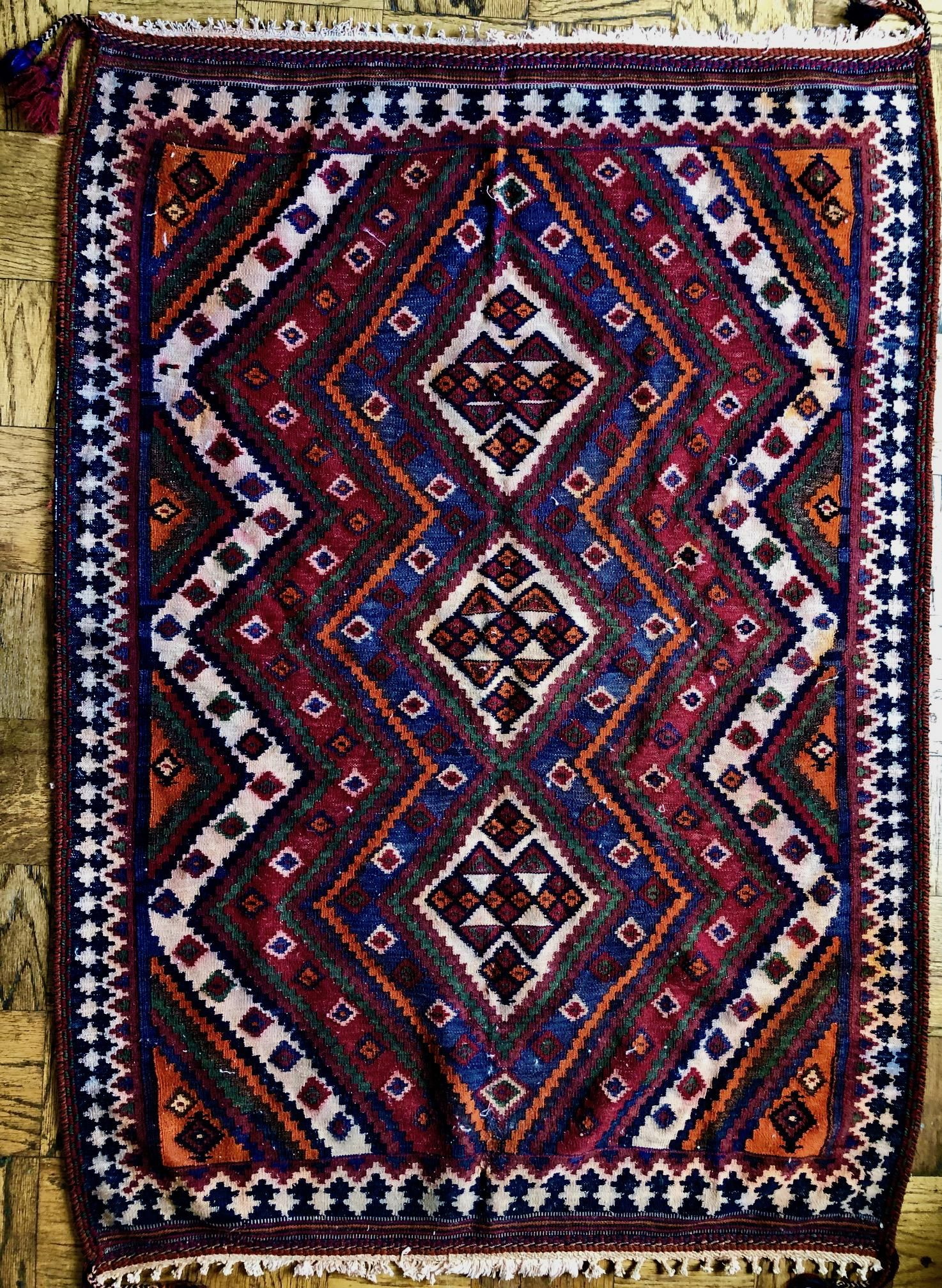 Semi-Antique Handwoven Tribal Kilim Rug: 6 1/2 x 5 feet
