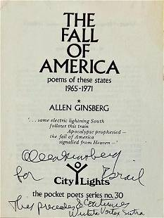 THE FALL OF AMERICA Inscribed by Allen Ginsberg, 1972