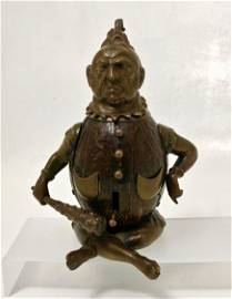 19th C. Bronze / Coconut Bell & Inkwell Maori Warrior