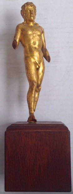 """Italian Grand Tour Carved Figure """"Athletic Male Nude"""""""