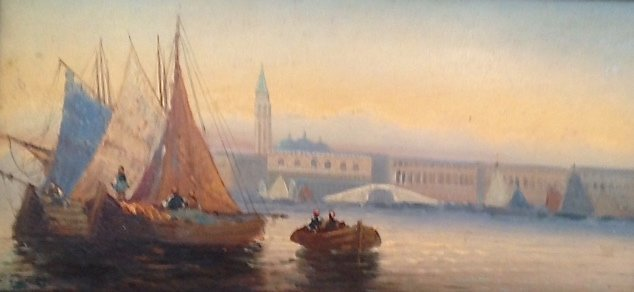 European School Oil Painting, C.Bosman,'Harbor view'
